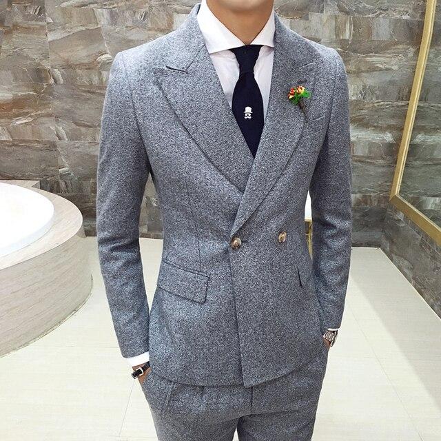 Мужские костюмы Мода корсаж платье бизнес случайный сгущать Пиджаки Тонкий хлопок костюм высокого качества мужская одежда XZ65