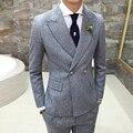 Corpete vestido de festa dos homens ternos Moda espessamento business casual Blazers terno dos homens de alta qualidade de algodão Fino roupas XZ65