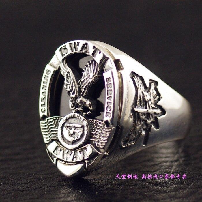 Импорт Таиланд, США LosAngeles SWAT Значок команды стерлингового серебра 925 серебряное кольцо