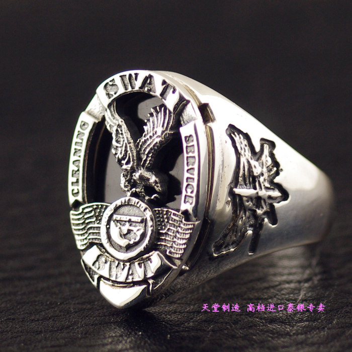 Thailand imports, USA Losangeles S.W.A.T team badge 925 Sterling Silver Silver Ring thailand imports skull blood new skeleton silver ring