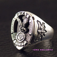 Thailand imports, USA Losangeles S.W.A.T team badge 925 Sterling Silver Silver Ring