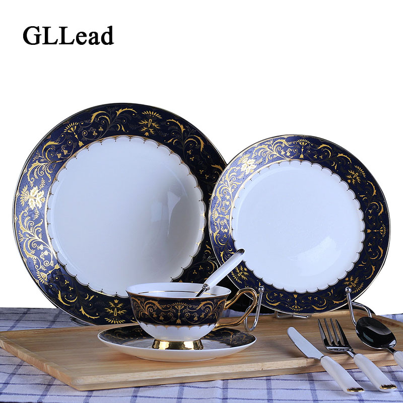 Gllead Chinese Porcelain Dinnerware Ceramic Dinner Plates European Dishes Black And Gold Fork Spoon Set