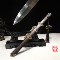Chinese Traditional Tang Sword Hand Forged Folded Steel Ebony Wood Scabbard Short Dagger Sharpness Ready For