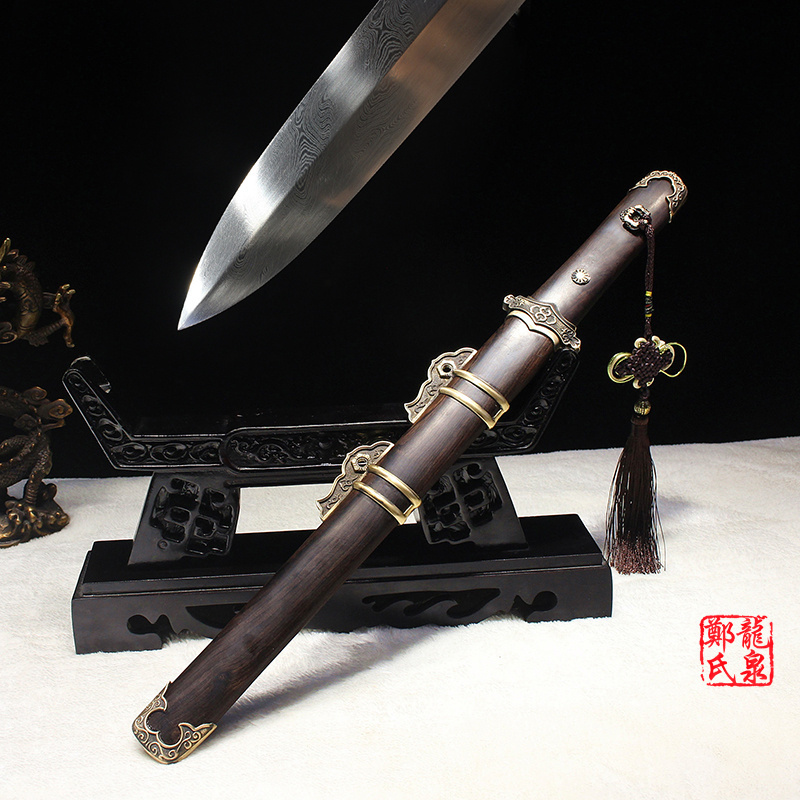 Chinese Traditional Tang Sword Hand Forged Folded Steel Ebony Wood Scabbard Short Dagger Sharpness Ready For Cutting Paper
