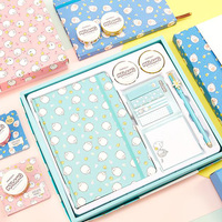 Cute Cartoon Molang Stationery Set Molang Notebook Erasable Pen Tape DIY Scrapbook Set
