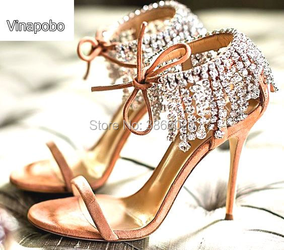 Vinapobo mujeres cristal flecos Glitter Lace up sandalias bomba 2018 tacones altos 9,5 CM sandalias señora Chic cubierta talón fiesta sexy zapatos-in Sandalias de mujer from zapatos    1
