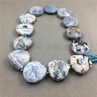 Faceted Sky Blue dragon vein agates Slice Drilled Beads,Nature Stone Slab beads for Jewelry Making 15.5 Inch Strand MY1111