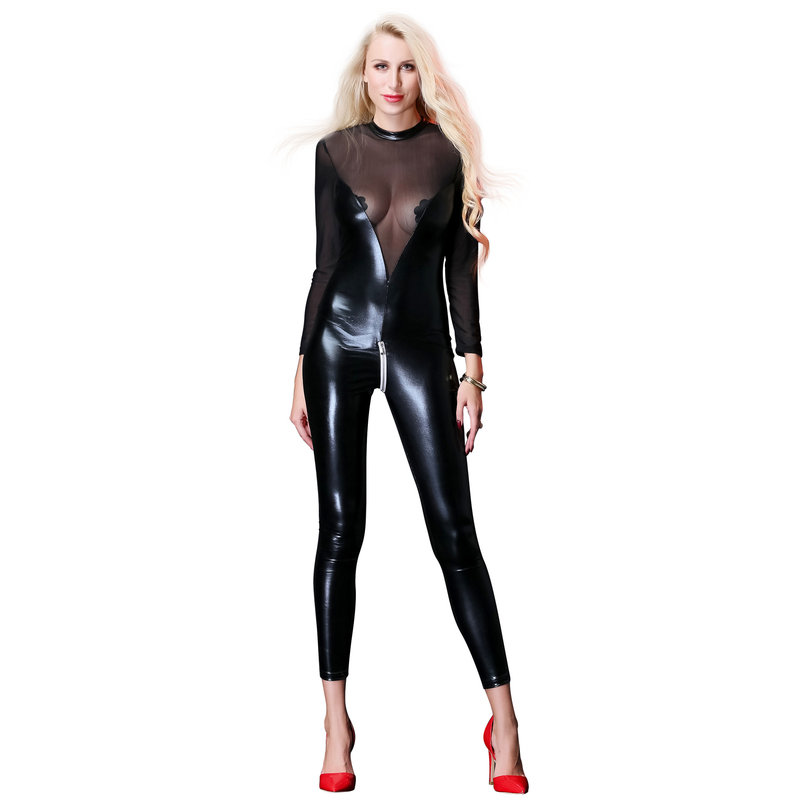 Fashion Black PU Leather Mesh Rompers Jumpsuit Women Sexy Long Jumpsuit Party Nightclub One Piece Pants Overalls Zipper Front