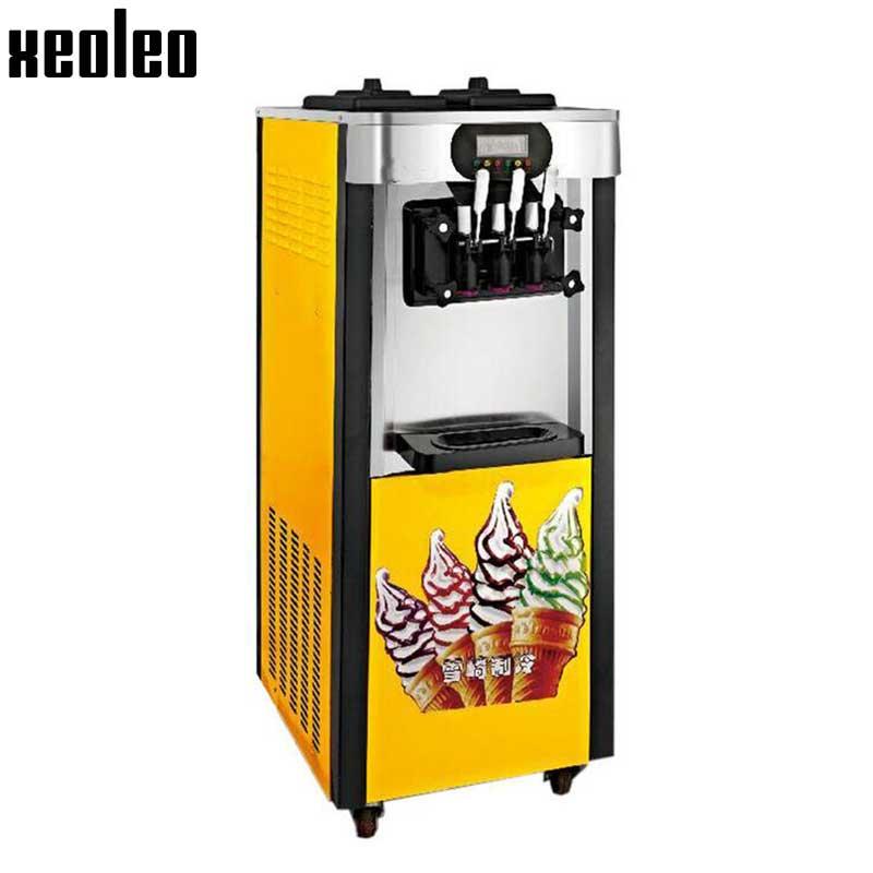 Xeoleo 3 flavors Ice cream maker Stand floor Ice cream machine with wheels Commerical Yogurt machine 20-25L/H Pink 220V/110V R22  xeoleo three flavors ice cream machine commercial soft ice cream maker 18 20l h blue yellow pink 1hp yogurt ice cream 2000w