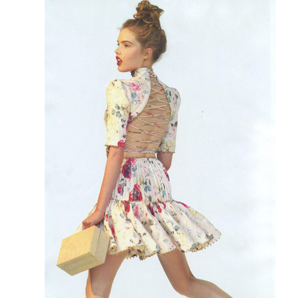 Luxury Women Elegant Summer Top Fashion Flower Printed Beading Sexy Backless Slim Dress High Quality Runway Party Dresses-in Dresses from Women's Clothing    1