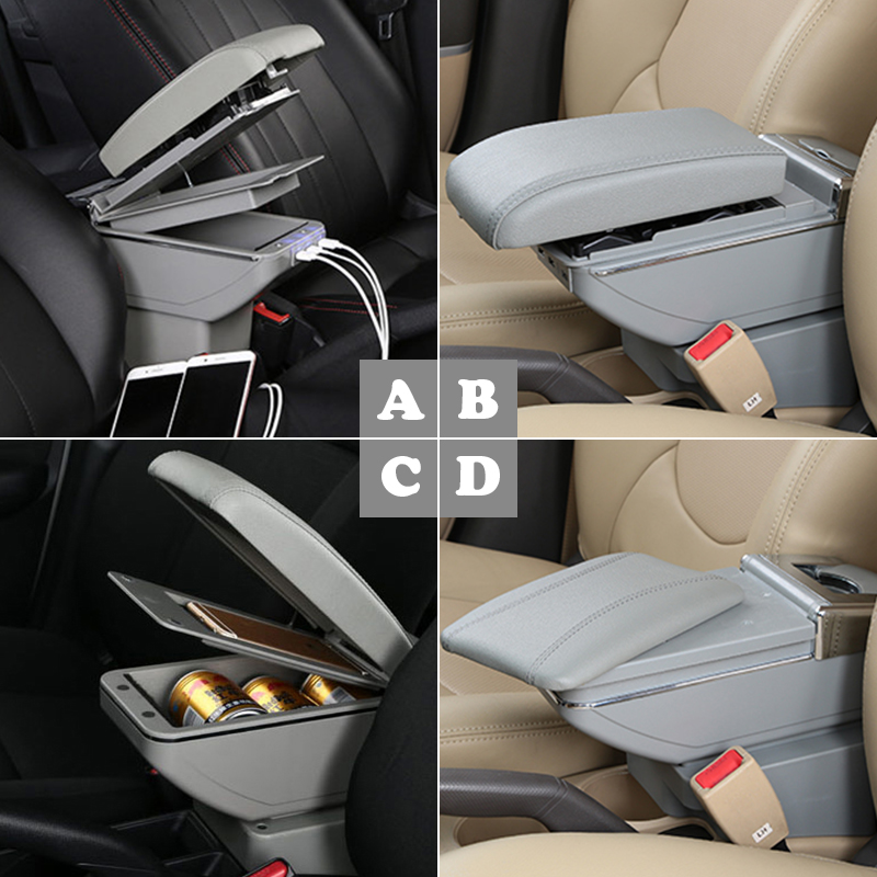 Auto Car Armrest Box Modified For Nisan Note 2016 2017 2018 USB Cup Holder Ashtray Organizers ABS Leather Accessories in Armrests from Automobiles Motorcycles