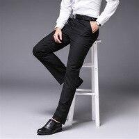 Мужские однотонные Черные Серые брюки высокого качества мужское платье штаны брюки прямые деловые мужские деловые штаны Большие размеры 5XL