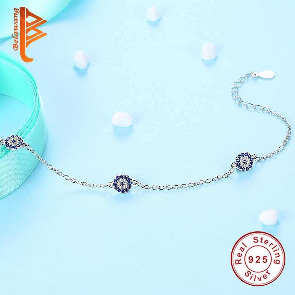 BELAWANG véritable 100% 925 argent Sterling yeux bleus chanceux CZ cristal femmes lien chaîne Bracelet en argent Bracelet fabrication de bijoux