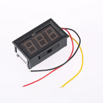 1pcs Mini Digital Voltmeter 4.5-30V 3 wires Vehicles Motor Voltage Panel Meter led Display Color:Red hot Measuring Tools
