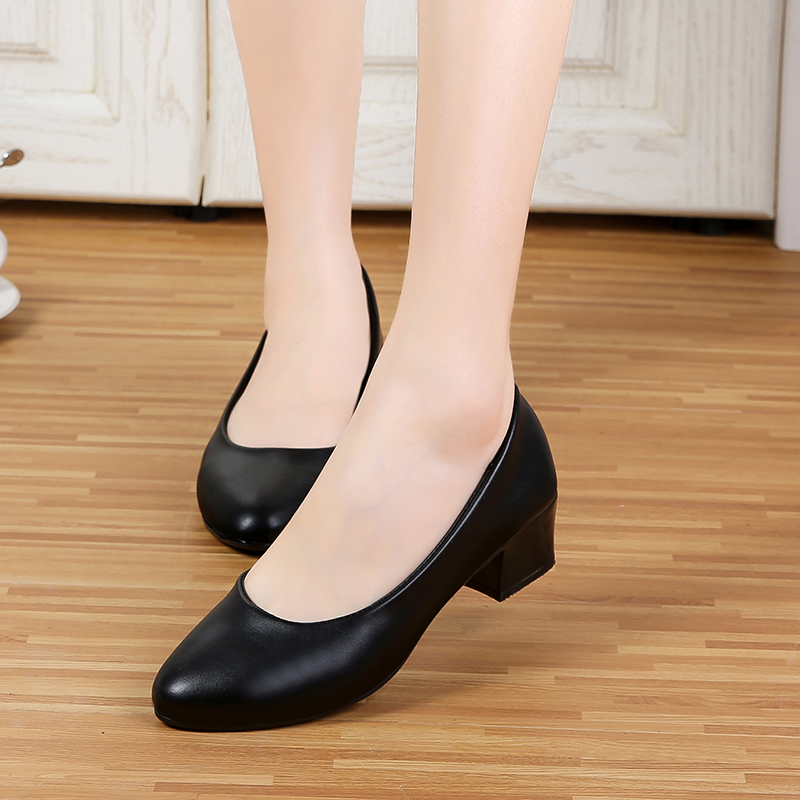 37bf6595a4f6 Low heel black leather shoes women working shoes round head soft ...