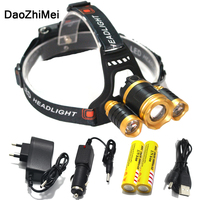 3T6 Led Headlight Cree Xm L T6 Head Lamp 10000 Lumens Waterproof Lights Headlamp18650 Rechargeable Battery