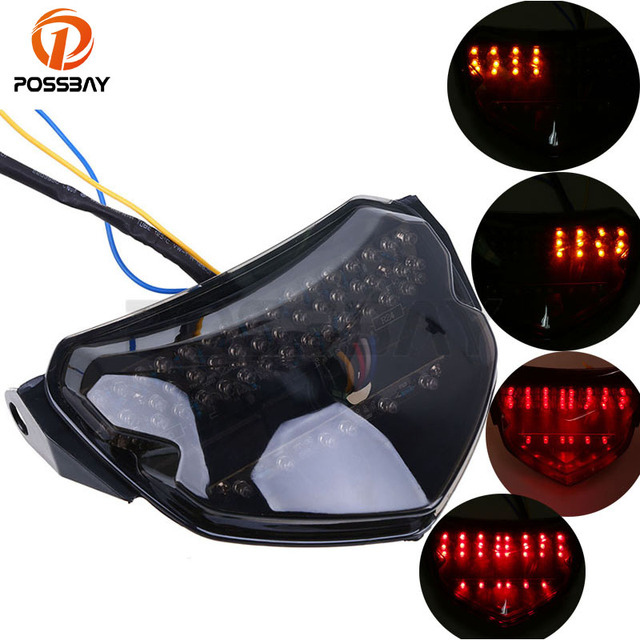 POSSBAY Motorcycle Lights Rear Taillight Led Tail Brake Turn Signals Integrated Light For SUZUKI GSXR 600