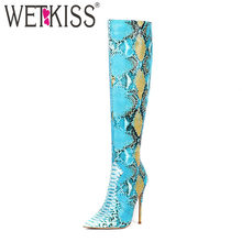 WETKISS Colorful Snake Skin Pu Boots Women Stiletto Heels High Boot Female Party Shoes Ladies Pointed Toe Sexy Shoes Winter 2020(China)