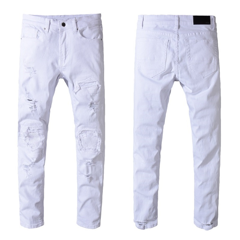 3f043fe0f5c9 Aliexpress.com   Buy New Italy Style  543  Mens Distressed Destroy Ribbed  Patches Rips Pants Stretch Skinny White Jeans Slim Trousers Size 28 42 from  ...