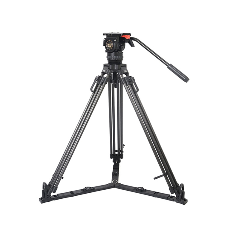 TERIS TS-N6T Carbon Fiber Video Camera Tripod Kit w/ Fluid Head Load 7KG Professional Tripod for Video camera film camera benro c38tds2 carbon fiber tripod kit bird watching monopod kit professional video camera slr tripod stable support for canon