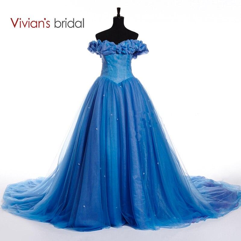 Vivian's Bridal Hot Sale Cinderella Paragraph Wedding Dress Butterfly Appliques Ball Gown Bridal Dress With Chapel Train VB10137