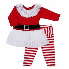 Santa Claus, Christmas party Cosplay clothing baby girls and boys jump clothing group at the top of the T-shirt + pants suit