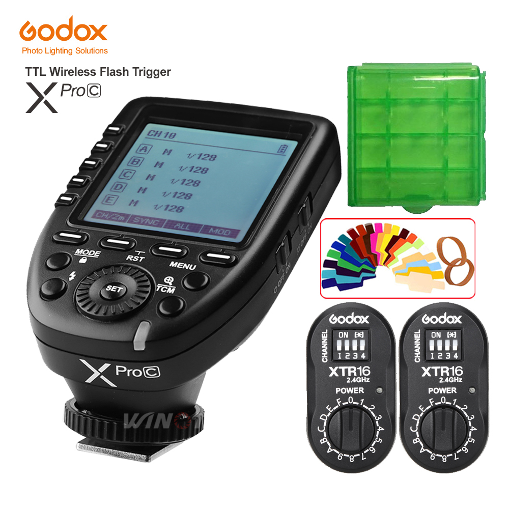цены Godox XPro-C Flash Trigger Transmitter E-TTL II 2.4G Wireless X System HSS+ 2pcs XTR-16 Receiver for Canon AD180 AD360 AD360II
