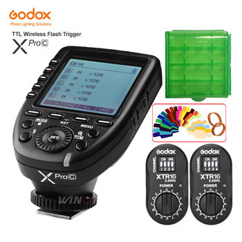 Godox XPro-C Flash Trigger Transmitter E-TTL II 2.4G Wireless X System HSS+ 2pcs XTR-16 Receiver for Canon AD180 AD360 AD360II