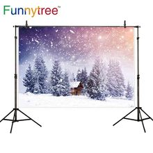 Funnytree backdrop for photo studio winter snow bokeh wood house trees Christmas photography background photobooth photocall allenjoy photo backdrops christmas snow celebrate bokeh background photocall photographic photo studio photobooth fantasy