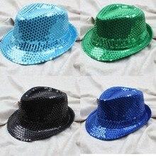 Детская джазовая Кепка для мальчиков и девочек, Кепка Для Взрослых с блестками, популярная Кепка Trilby с плоским верхом, кепка Fedora, модная шапка с блестками для женщин и мужчин