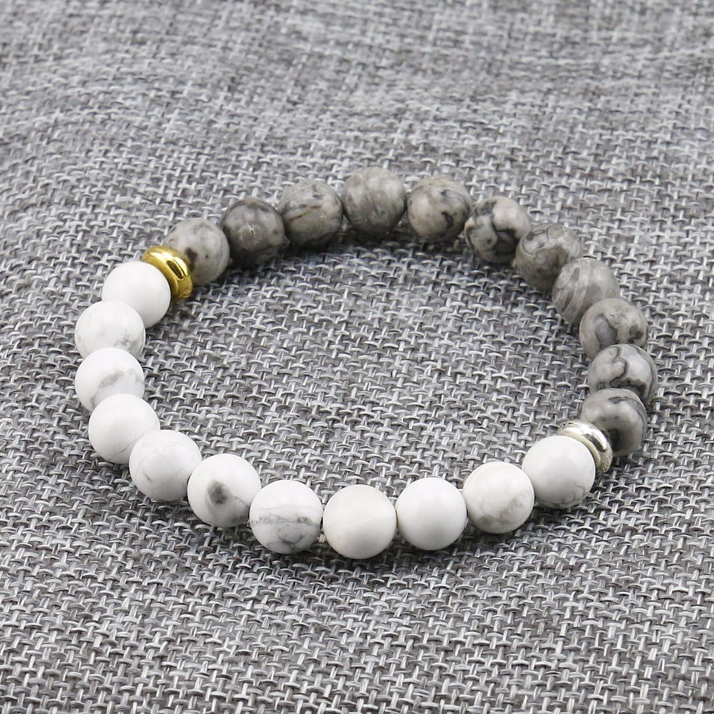 Natural Stone White Howlite Marble With Grey Stone Bead Bracelet For Men Fashion Personality Elastic  Charm Bracelet