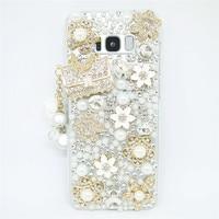 Dir-Maos Para Samsung Galaxy J7 2016 Caso J710 Noble Lady Pérola do Diamante Pingente de Flor Moda Bolsa De Metal Ouro Data Em branco