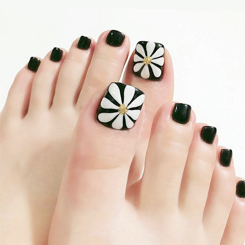 Health Beauty Nail Toe Art: 24pcs/Set Summer Cute Toes False Nails Black White Plum