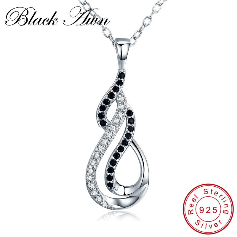 [BLACK AWN] 925 Sterling Silver Jewelry Trendy Gourd Necklace for Women Black Spinel Pendants Spiral Bijoux P186