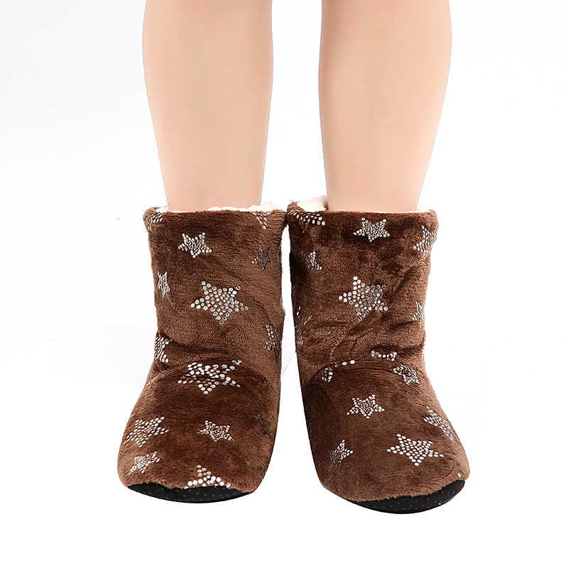 Mntrerm 2018 Yeni Kış sıcak Uzun tüp Kadın Ev Terlik Yıldız Desen Yumuşak Alt Kapalı Ayakkabı Rahat Peluş Terlik 6 renkli
