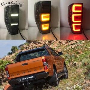Image 1 - Автомобильные задние фонари для Ford Ranger 2,2 Ranger 3,2 2015 2016 2017 2018 задние фонари светодиодный DRL ходовые огни Противотуманные фары с ангельскими глазками задние