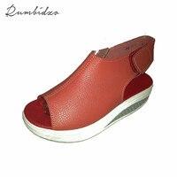 Rumbidzo 2017 Yaz Kadın Sandalet Peep Toe Salıncak Ayakkabı Bayanlar Platformu Takozlar Sandalet Kadın Sandalias Zapatos size35-43