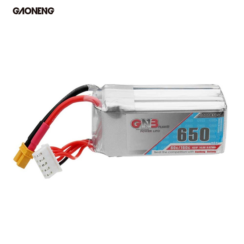 Gaoneng GNB 14.8V 650mAh 80C/160C 4S XT30 Plug Rechargeable Lipo Battery for RC Models Racing Drone Quadcopter Spare Parts Accs gaoneng gnb 11 1v 350mah 50c 100c 3s lipo battery jst xt30 plug connector for rc racing drone fpv quadcopter toy spare parts