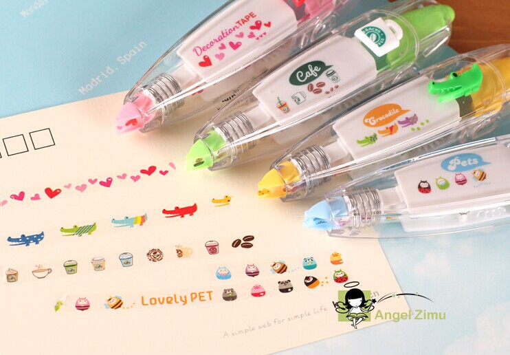 Free Shipping 4 Pieces Stationery Cute Diy Cartoon Sticker Color