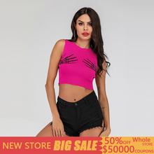 Sexy Bustier Print Summer Crop Top Women Casual Knit Pink Top Women Kawaii Fitness Cami Top Mujer Verano 2019 Streetwear Femme недорго, оригинальная цена