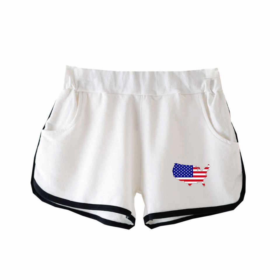 Dia da independência Impressão Mulheres Shorts de Ginástica de Seda Verão Curto Ocasional Cuecas Shorts de Fitness Shorts Cintura Elástica Pano Desgaste M15