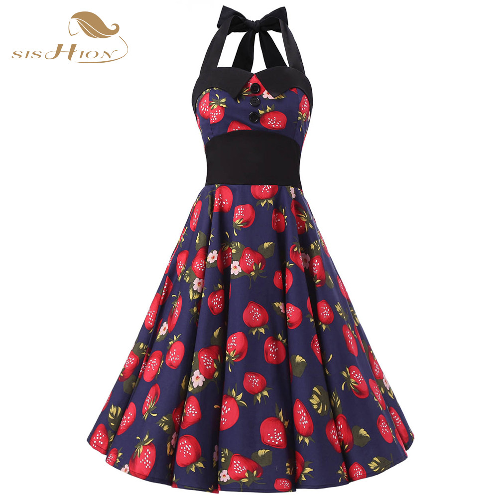 Summer Dress 2017 Halter Sleeveless Elastic Back Retro Rockabilly 60s 50s Vintage  Dresses Swing Floral Pinup Party Gown VD0251F-in Dresses from Women s ... 7091fc33ee3