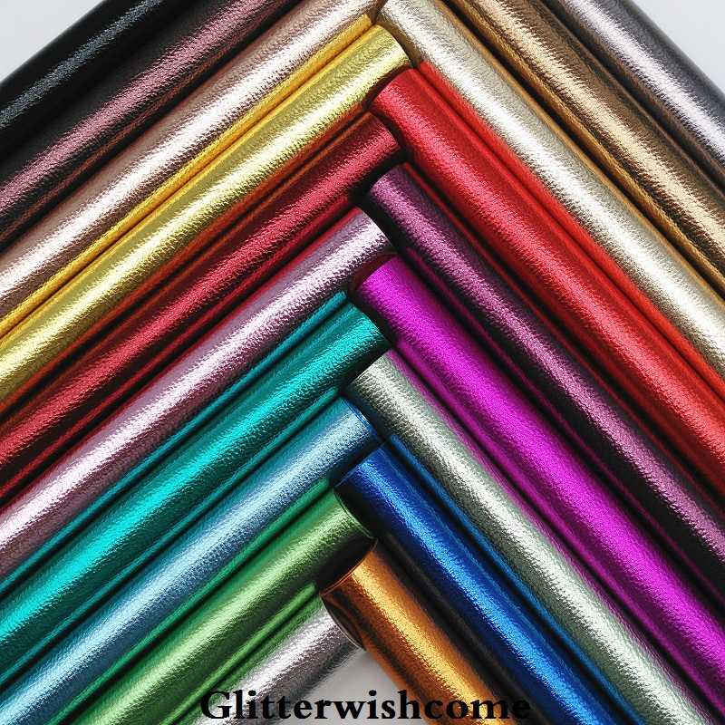 Glitterwishcome 21X29CM A4 Size Synthetic Leather, Metallic Leather, Litchi Grain Faux PU Leather Fabric Vinyl For Bows, GM030A