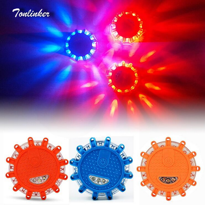 Tonlinker Mini 12 LED Emergency Safety Road Flare Magnet Flashing Warning Night Lights Roadside Disc Beacon For Car/Truck/SUV
