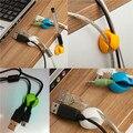 6 unids agujeros dobles Cable multiuso laminilla Cable Clips Ties cargador USB del organizador del sostenedor con adhesivo Desk Tidy alambre