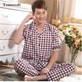 Pijamas de algodón Set de Bambú de Los Hombres de manga Corta Pantalones Pijamas Parejas ropa de Dormir Pijamas de Las Mujeres Más El Tamaño 4XL