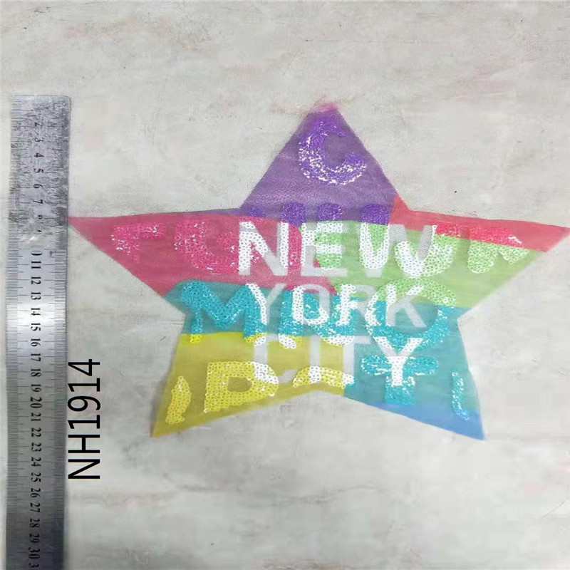 Letter New York City 4 Style Shape Sequins Sew On Patch for clothes DIY Crafts Coat Sweater Embroidered Paillette Patch Applique in Patches from Home Garden