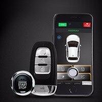 PKE Android/IOS старт/Стоп 1 Автомобильный пульт дистанционного управления ЖК дисплей двухполосная Автомобильная сигнализация бесключевого дост
