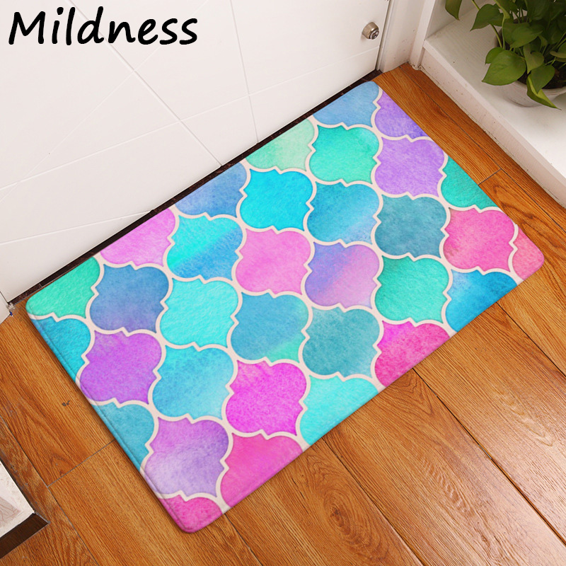 Yard & Garden Decor Alert Geometric Printed Anti-slip Coral Fleece Door Mat Carpet Rug Use For Home Living Room Kitchen Bathroom Bedroom Floor 2 Sizes Garden Supplies