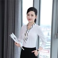 Autumn Winter Formal Elegant OL Styles Blouses Shirts For Ladies Office Wear Blouse Women Female Tops